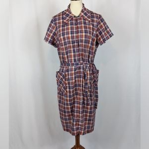 Vintage Plaid Shirt Dress Pockets Belted Plus Size